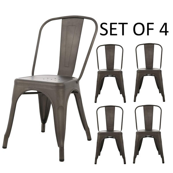 BTExpert Metal Distressed Rustic Chic Indoor Outdoor Stackable Bistro Cafe Dining Side Chairs Set of 4 - N/A. Opens flyout.