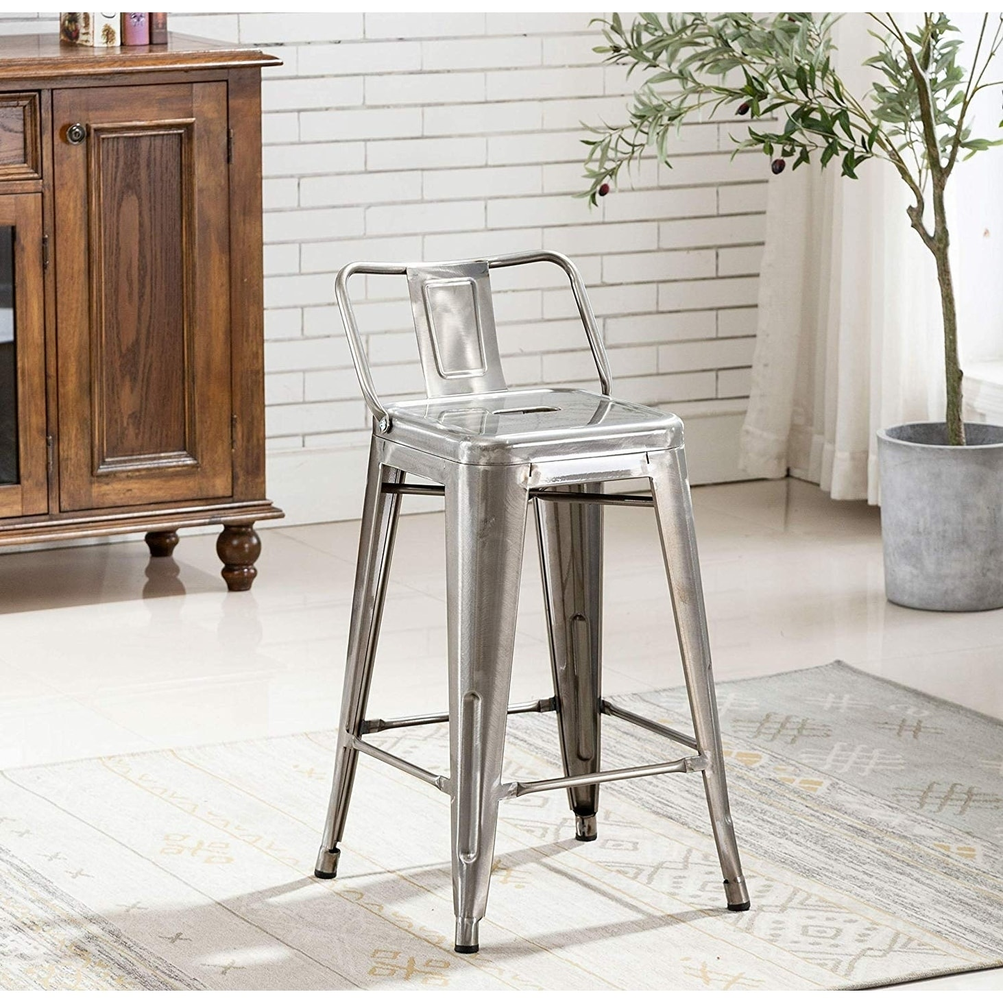 Image of: Shop Black Friday Deals On Industrial 24 Inch Galvanized Distressed Kitchen Indoor Outdoor Low Back Metal Counter Height Stool Set Of 4 Bar Stools Overstock 29027278