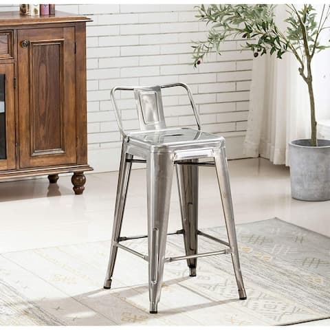 Industrial 24 inch Galvanized Distressed Kitchen Indoor Outdoor Low Back Metal Counter Height Stool Set of 4 Bar stools
