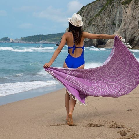 Mandala Beach Towels / Peshtemals - 100% Soft Turkish Cotton, Sand Resistant, Reversible, Fast Drying Towel  Size: 38 x 68""