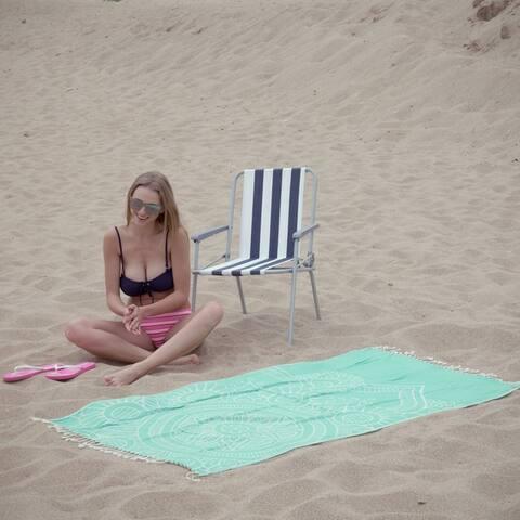 "Mandala Beach Towels / Peshtemals - 100% Soft Turkish Cotton, Sand Resistant, Reversible, Fast Drying Towel  Size: 38 x 68"""