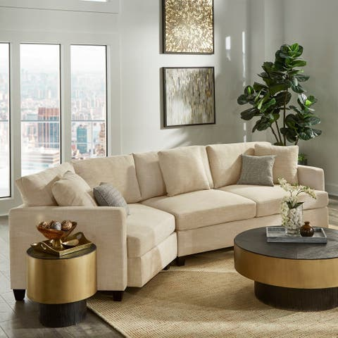 Andras Dark Brown Finish Ivory Fabric Sectional by iNSPIRE Q Classic