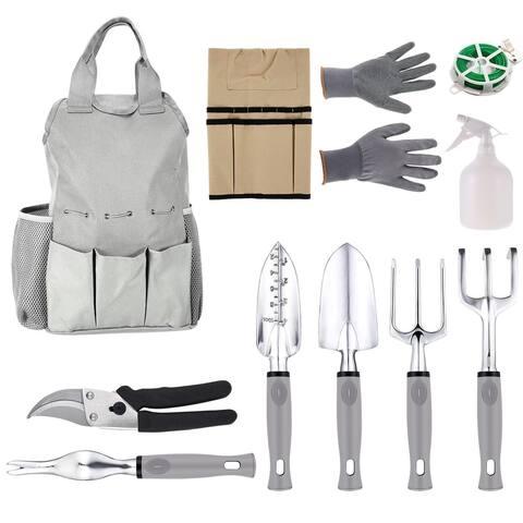 Homdox 11 Piece Gardening Tool Set Tool Bag Apron 6 Gardening Tools Anti-cutting Gloves Bind Line