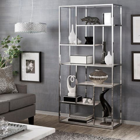 Alva Chrome Finish 72-inch Asymmetrical Bookcase by iNSPIRE Q Bold