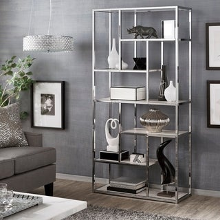 Alva Chrome Finish 72-inch Asymmetrical Bookcase by iNSPIRE Q Bold