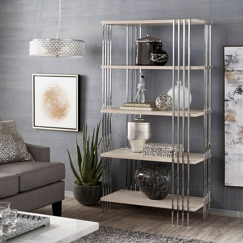 Rhianna Chrome Finish 68-inch Bookcase with Faux Marble Shelves by iNSPIRE Q Bold