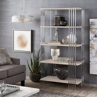 Link to Rhianna Chrome Finish 68-inch Bookcase with Faux Marble Shelves by iNSPIRE Q Bold Similar Items in Bookshelves & Bookcases