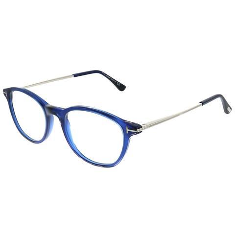 Tom Ford Blue Block Soft Rounded FT 5553-B 090 Unisex Shiny Transparent Blue Frame Eyeglasses 50mm