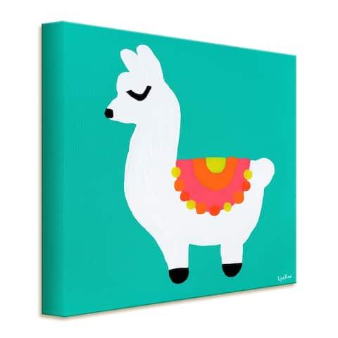 'Llama' Wrapped Canvas Animal Wall Art