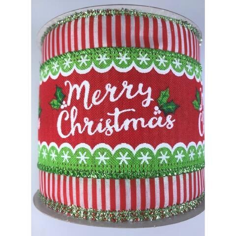 "Ribbon Merry Christmas Script 4"" x 10YD Red White"
