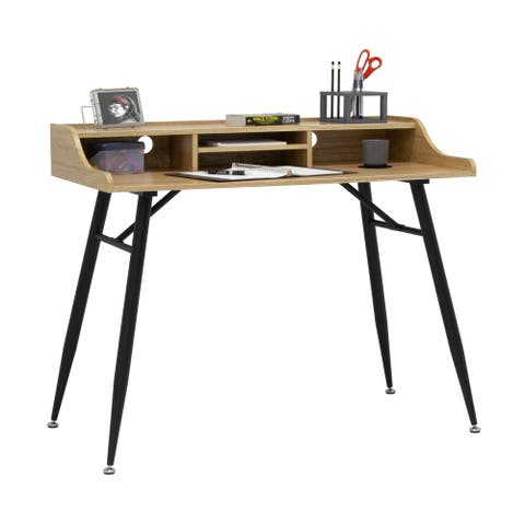 "Calico Designs Woodford 45"" Wide Modern, Secretary, Writing, Desk with Low Storage Hutch and Metal Tapered Legs"