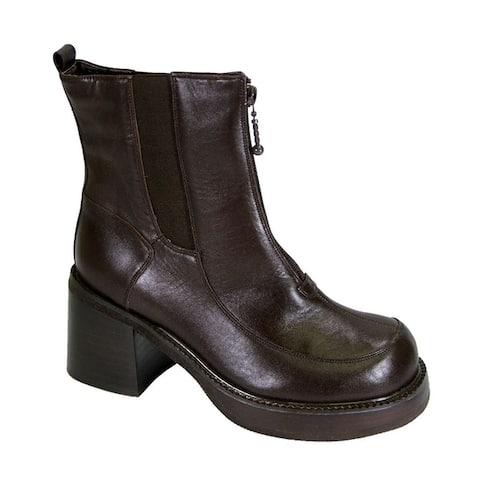 PEERAGE Ronda Women Extra Wide Width Comfort Leather Dress Booties