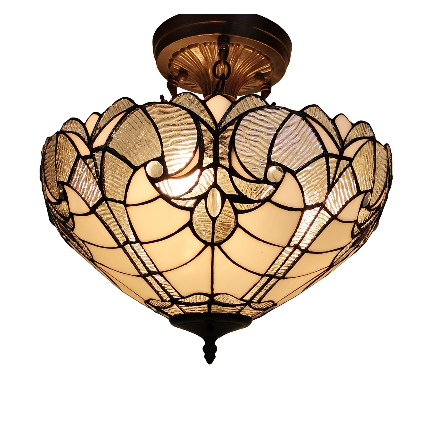 Tiffany Style Ceiling Lamp Fixture Semi Flush 16 Wide White Stained Glass 2 Dining Room Gift Am216hl16b Amora Lighting