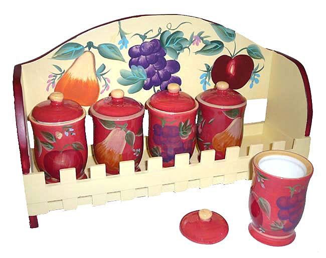 Sandy's Orchard Hand-painted 5-piece Spice Rack