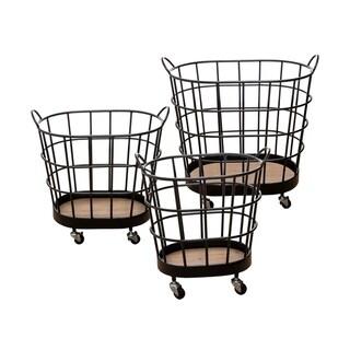 Carbon Loft Heathcote Rolling Wire Baskets (Set of 3)
