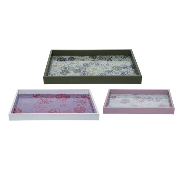 Floral Glass Trays, Set of 3