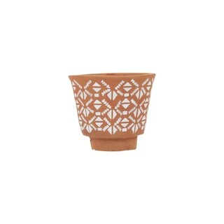 Footed Geo Terracotta Planter Small