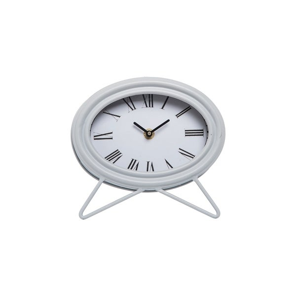Oval Tabletop Clock Gray
