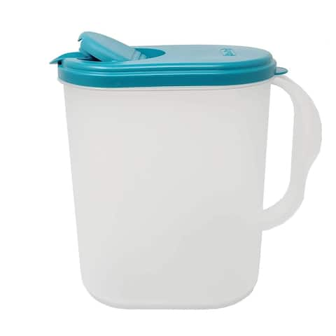 1 Gallon/3.8 Liter Heavy Duty Plastic Measuring Pitcher See Through Leak Proof Spill Proof Blue Lid w/Pivot Spout Lid, BPA-free