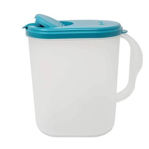 1 Gallon/3.8 Liter Heavy Duty Plastic Measuring Pitcher See Through Leak Proof Spill Proof Blue Lid w/Pivot Spout Lid, BPA-free