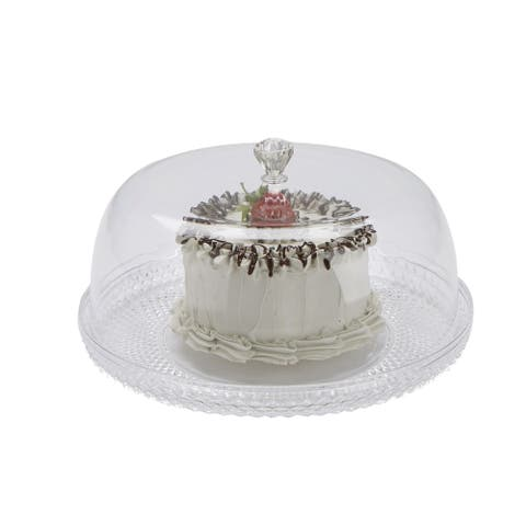 Mind Reader Diamond Acrylic Cake Holder with Cover, Cake Display,Clear