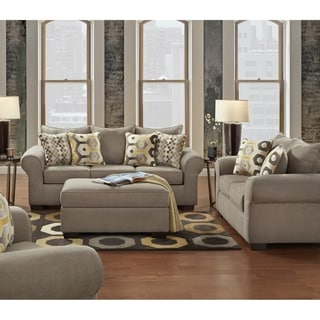 Sofa Trendz Cressida Platinum Sofa Loveseat  & Ottoman Set