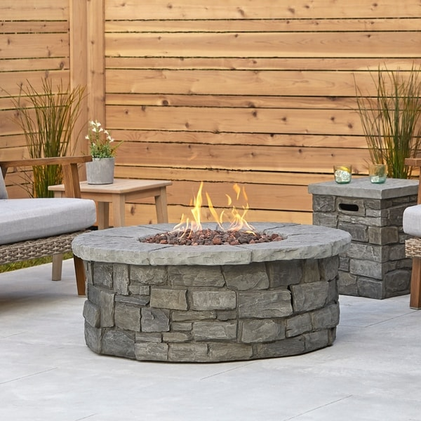 Sedona Round Propane Fire Table in Gray with Natural Gas Conversion Kit
