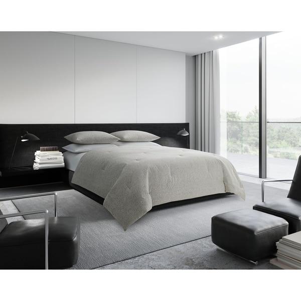 Vera Wang Bamboo Leaves Grey Cotton Comforter Set