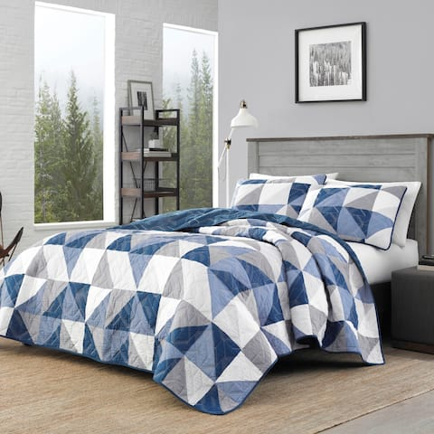 Eddie Bauer North Cove Navy Cotton Quilt Set