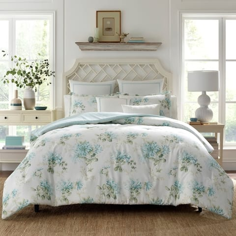 Laura Ashley Honeysuckle Blue Cotton Comforter Bonus Set
