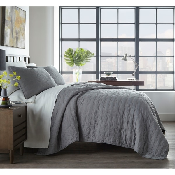 City Scene Avondale Grey Cotton Quilt Set