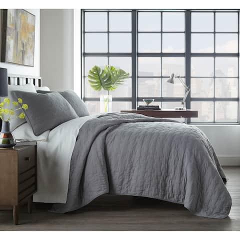 City Scene Avondale Grey Cotton Quilt Set