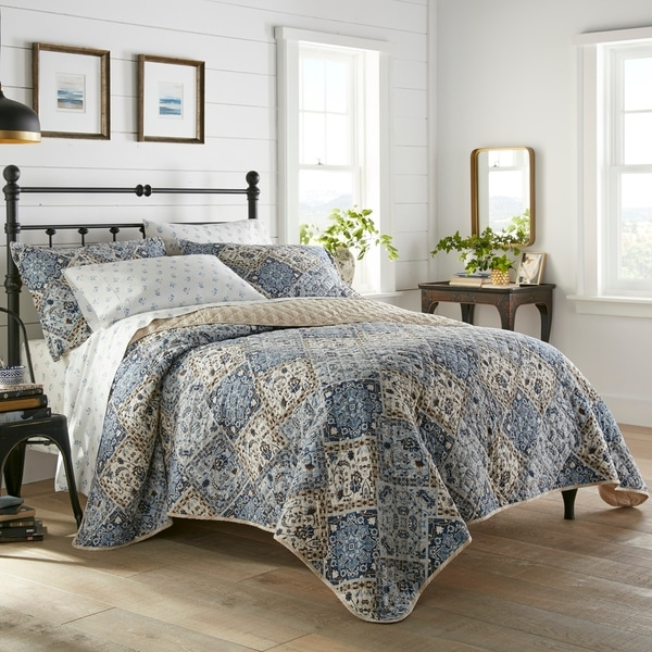 Stone Cottage Arell Blue Cotton Quilt Set (As Is Item). Opens flyout.