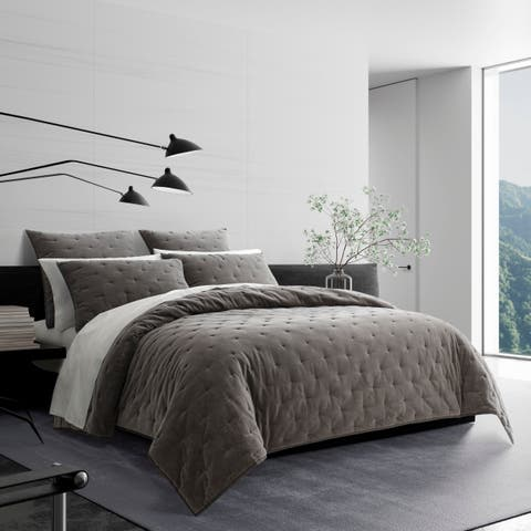 Vera Wang Velvet Grey Quilt and Coordinating Shams