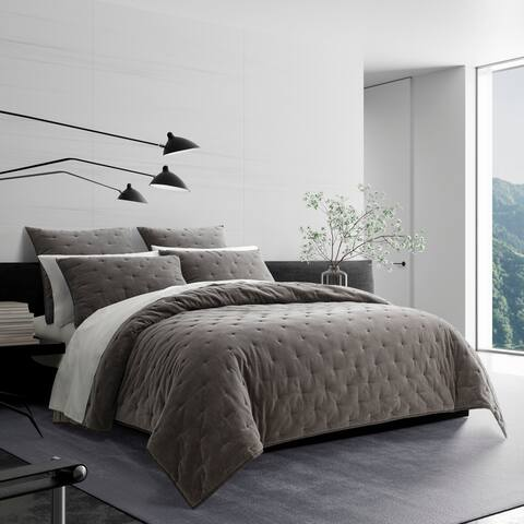Vera Wang Velvet Grey Quilt and Coordinating Sham Separates