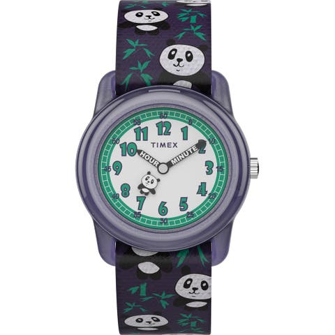 Timex Girls TW7C77000 Time Machines Purple/Pandas Elastic Strap Watch