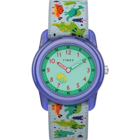 Timex Boys TW7C77300 Time Machines White/Dinosaurs Elastic Strap Watch