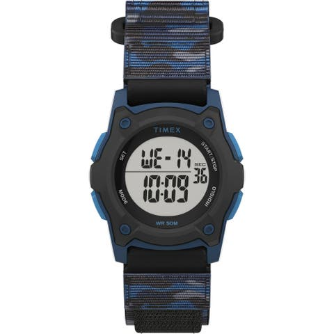 TIMEX TIME MACHINES® 35mm Blue Camo Fast Wrap® Kids Digital Watch - N/A