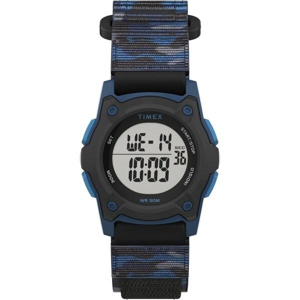 Timex Boys TW7C77400 Time Machines Digital Black/Blue Camo Watch