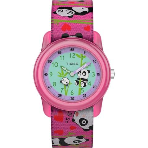 Timex Girls TW7C77100 Time Machines Pink/Pandas Elastic Strap Watch
