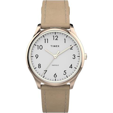 Timex Women's TW2T72400 Modern Easy Reader 32mm Beige/Rose Gold Watch