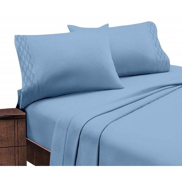 Porch & Den Hanson Embroidered Extra Soft Microfiber Deep Pocket Bed Sheet Set. Opens flyout.