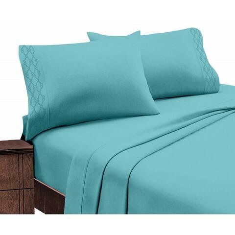Porch & Den Hanson Embroidered Extra Soft Microfiber Deep Pocket Bed Sheet Set