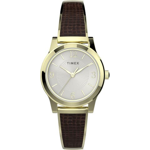 Timex Women's TW2T31600 Stretch Bangle 25mm Brown/Gold Watch