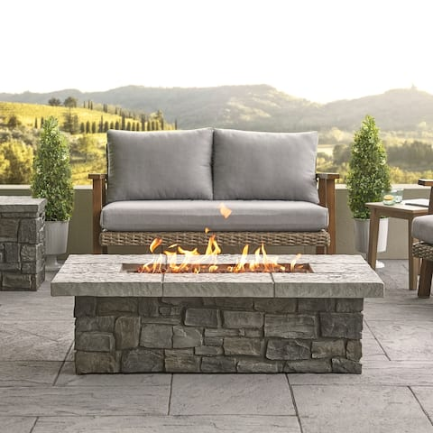 Sedona Rect. Propane Fire Table in Gray with NG Conversion - 52.25 x 31.25 x 19.5