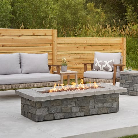 Sedona Lg. Rect. Propane Fire Table in Gray with NG Conversion