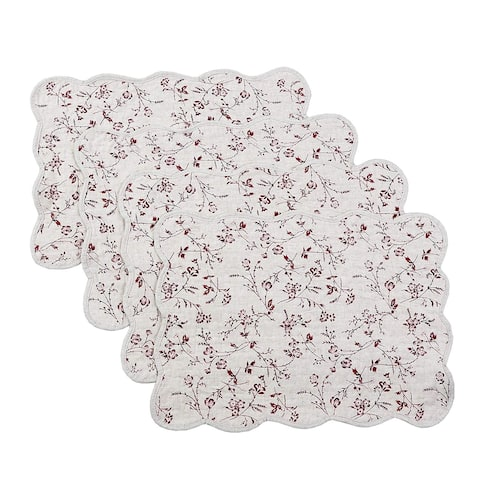 Cozy Line Floral Quilted Linen Placemats (Set of 4)