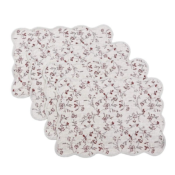 Cozy Line Floral Quilted Linen Placemats (Set of 4). Opens flyout.