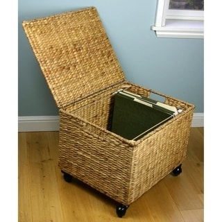 File Cabinet - Rolling Seagrass Filing Cabinet & Storage Ottoman