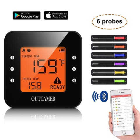 Homdox Wireless Grill Thermometer Bluetooth Adapter Digital Cooking Food with 6 Probes